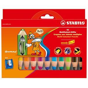 Stabilo Woody 3 In 1- 10 Renk+1 Kalemtiras Karton